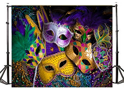 TMOTN 7x5ft Masquerade Photography Backdrop Thin Vinyl Carnival Mardi Gras Photo Background Studio Prop for Wedding, Party, Newborn, Children, and Product Photography Studio Props D1875 - Mardi Gras Pictures
