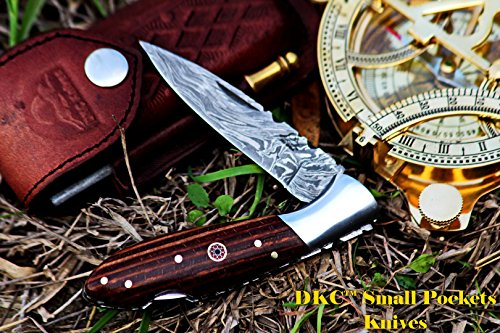 DKC-58-LJ-JS-LITTLE-JAY-Damascus-Folding-Pocket-Knife-Mahogony-Micarta-Handle-4-Folded-7-Long-47oz-oz-High-Class-Looks-Feels-Great-In-Your-Hand-And-Pocket-Hand-Made-DKC-Knives-LJ-Series