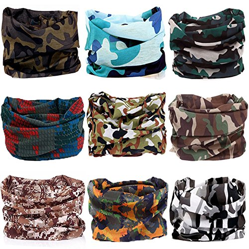 KALILY 9PCS Headband Bandana – Versatile CAMOUFLAGE Sports Headwear –Multifunctional Seamless Neck Gaiter, Headwrap, Balaclava, Helmet Liner, Face Mask for Camping, Running, Hunting, Fishing etc