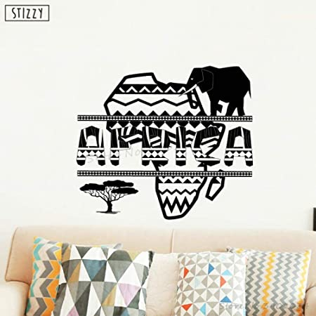 yaoxingfu Tatuajes de Pared Diseño de Mapa Africano Pegatinas de ...