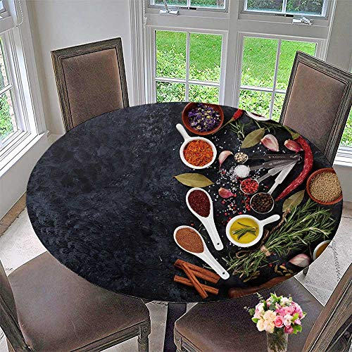(Luxury Round Table Cloth for Home use Herbs Condiments and Spices on Stone Background top View with Copy Space for Buffet Table, Holiday Dinner 59