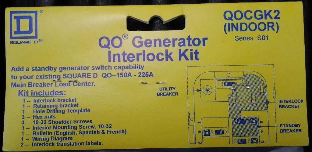 QOCGK2 SCHNEIDER SQUARE D Load Center LD CTR CVR GEN INTLK KIT QO – Interlock Kit Wiring Diagram