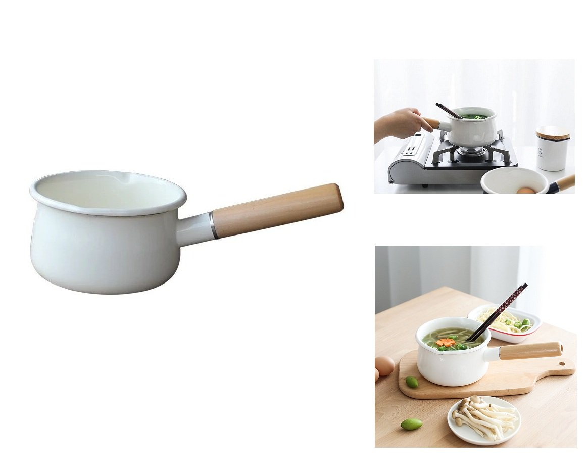 Enamel Sauce Pan Healthy White Enameled Inside Coating Iron Milk Pan and Butter Warmer with Wooden Handle Handy Pot, Two Pour Spouts, 15cm 1-Quart (White)