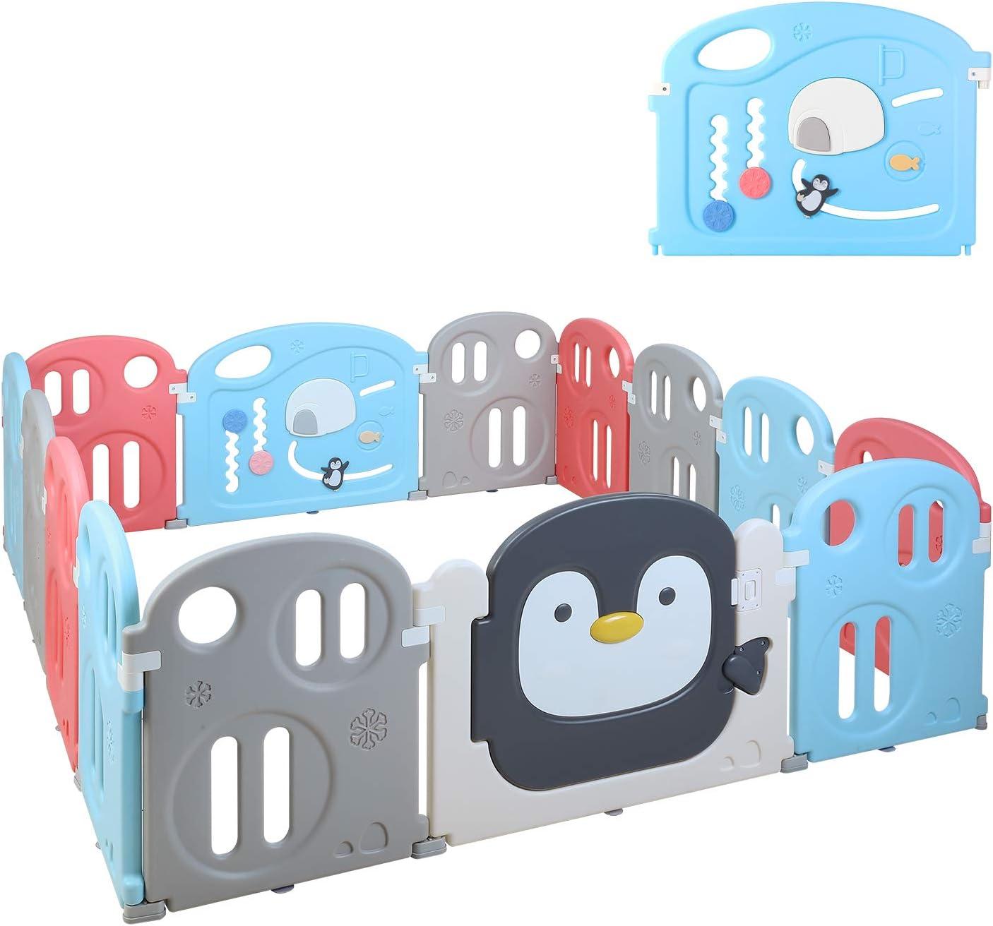de interior y OutdoorSafe corra Parque infantil beb/é 8 panel plegable y port/átil de un corralito for beb/és de los ni/ños Centro de Actividades grande con malla transpirable y bolsa de almacenamiento