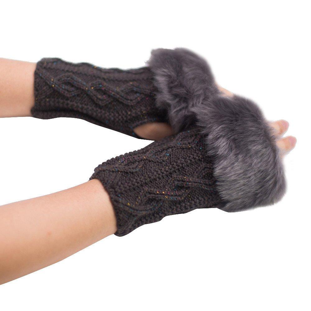 Womens Winter Real Rabbit Fur Golves Knitted Stretch Fingerless Mitten Gloves