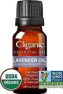 Cliganic USDA Organic Lavender Essential Oil - 100% Pure, Undiluted, Natural, Non-GMO, Therapeutic Grade for Aromatherapy Diffuser | Lavandula Angustifolia