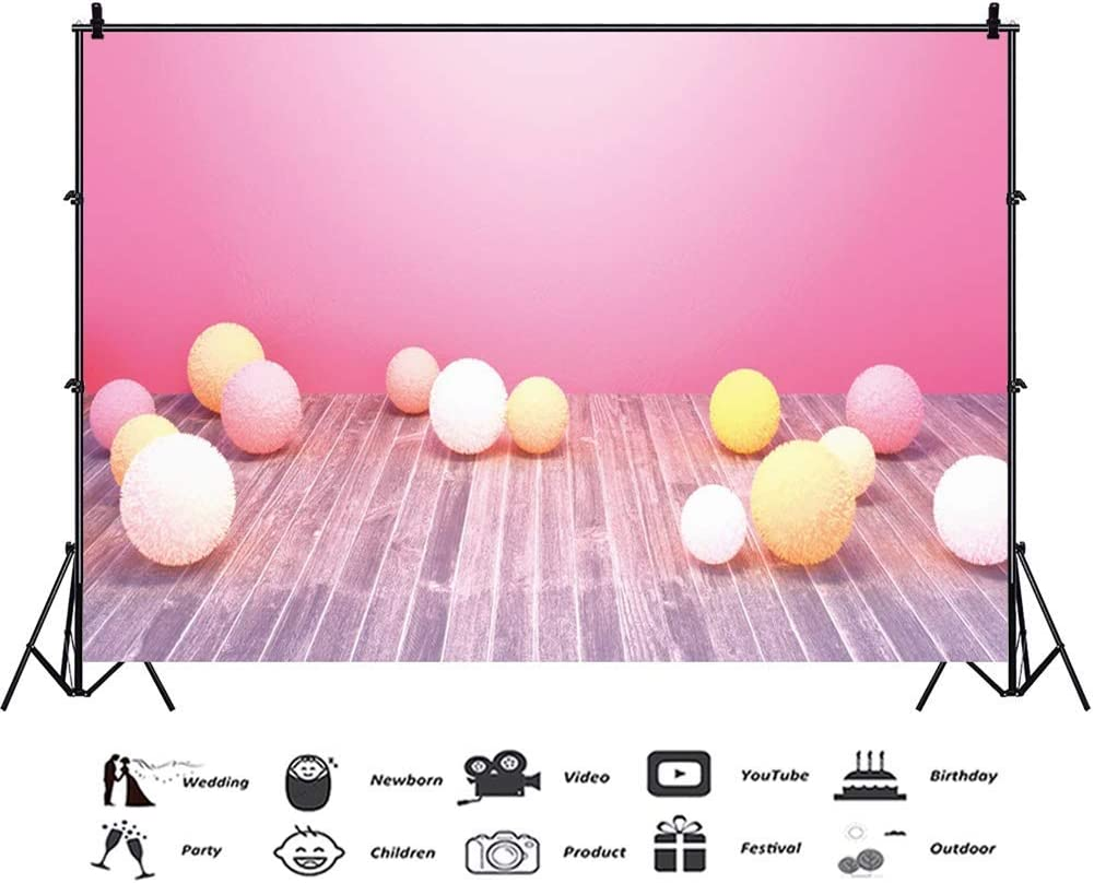 Easter Theme 10x8ft Vinyl Photography Background Pastel Fluffy Easter Eggs Pink Wall Rustic Wooden Floor Backdrop Easter Egg Hunt Day Banner Wallpaper Child Baby Girl Shoot