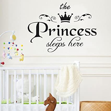 Rumas® Vinyl Wall Sticker Quotes, Baby Girls\' Room Decals The Princess  Sleeps Here, Non-Toxic Environmental (Black)