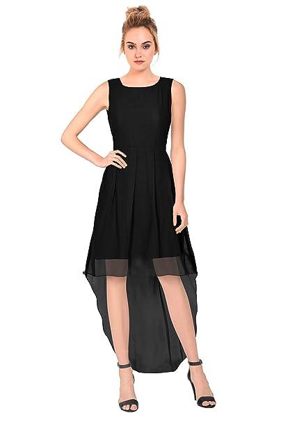 b041b4713ec3 Women s Western Wear High Low Georgette Skater Dress (D Burger) Black