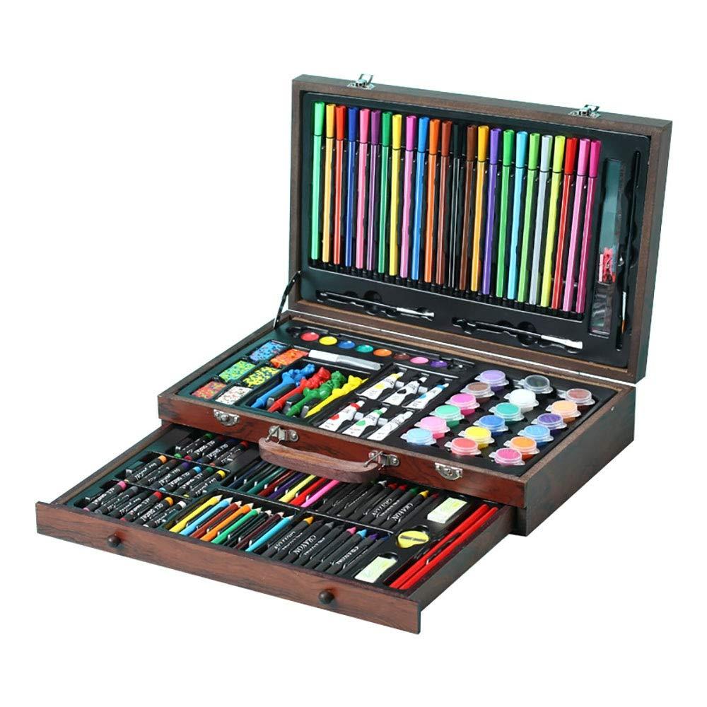 Kanqingqing Rifornimenti di 130 Pezzi per la Pittura e Il corredo di Arte di Disegno in Scatola di Legno Include Le pitture ad Olio delle matite dei Colorei dei pastelli dell'acquerello