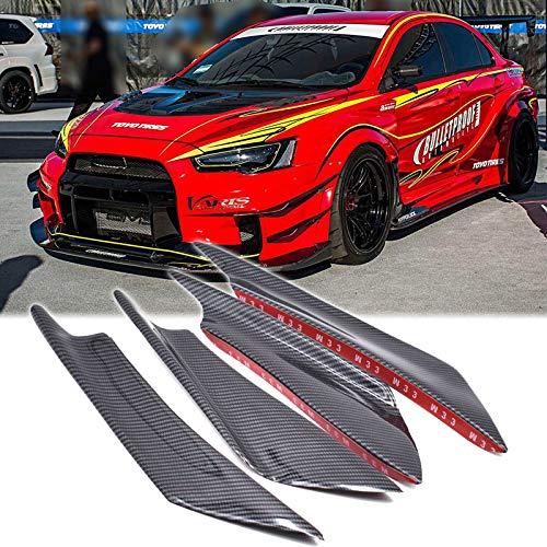 Xotic Tech Bumper Guard Decoration - 4pcs Carbon Fiber Painted Bumper Canards Splitters Lip for Mitsubishi Lancer EVO X 10 (Evo Body Kits)