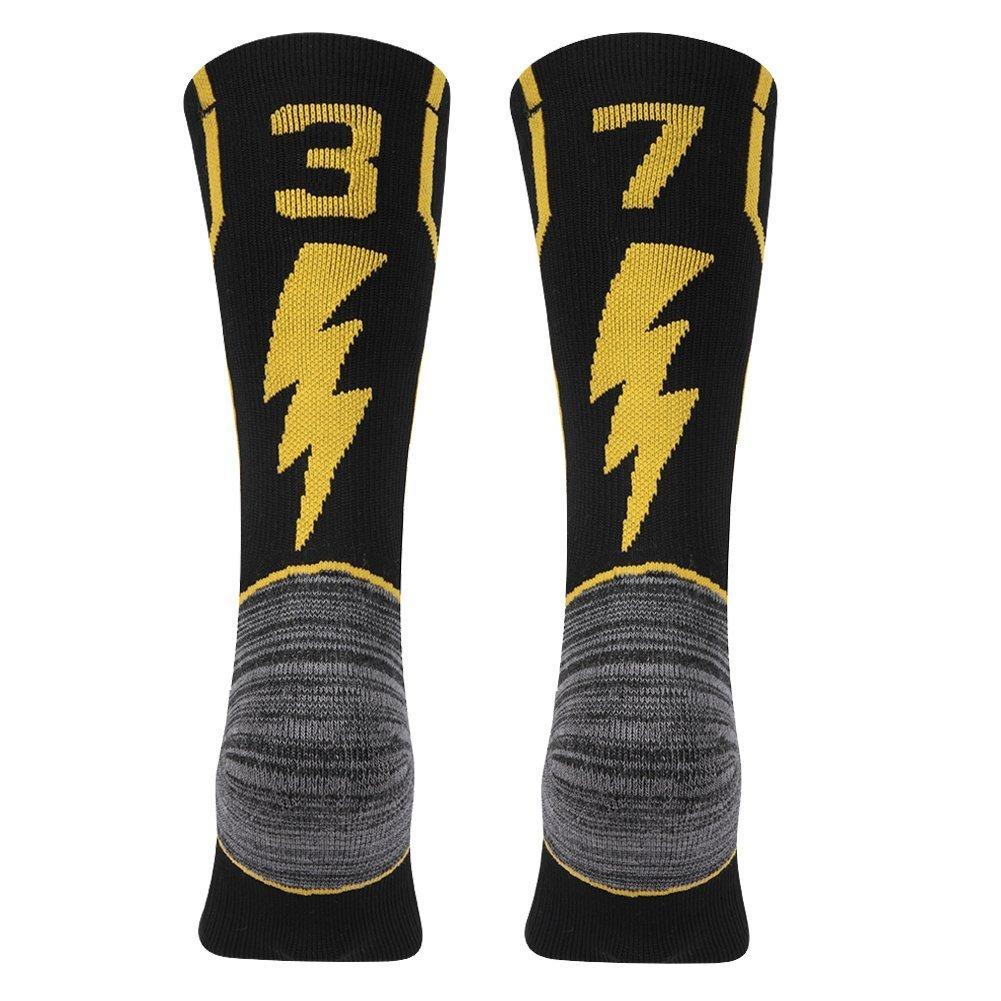 kitnsox大人用Youth Mid Calfクッションチームスポーツ数ソックスバスケットボールサッカー野球ゴールド/ブラック B07DXFH56L 37 or 73 Team Number Black & Gold Large Large|37 or 73 Team Number Black & Gold