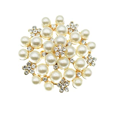 Elegant Pearl Floral Crystal Brooch Pin for Wedding Bridal