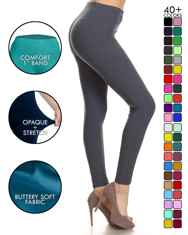 SXL128-CharcoalGrey Basic Solid Leggings, Plus Size