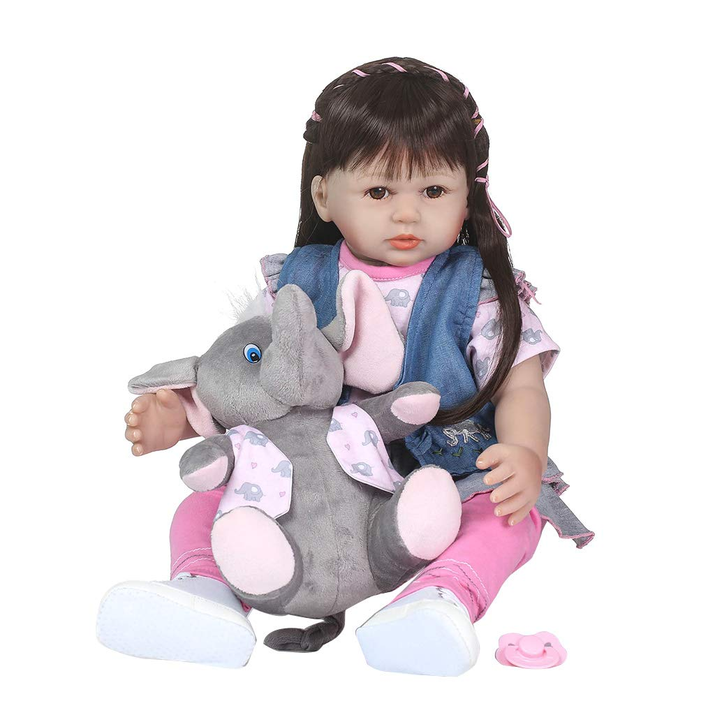 Runrain - Bambola realistica per neonati, 61 cm, in silicone, con capelli lunghi, gonna, giacca, scarpe, elefante, giocattoli