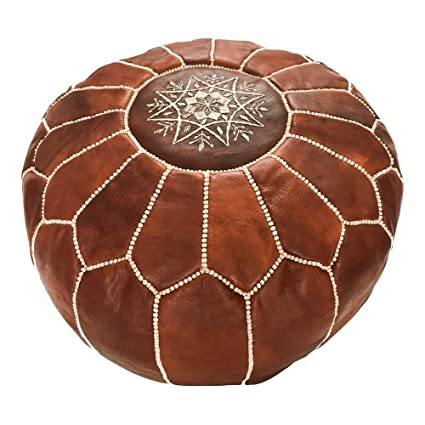 Marrakesh Gallery Moroccan Pouf   Genuine Goatskin Leather   Bohemian Living Room Decor   Hassock & Ottoman Footstool   Round & Large Ottoman Pouf   Unstuffed   Includes Stuffing Instructions by Marrakesh Gallery