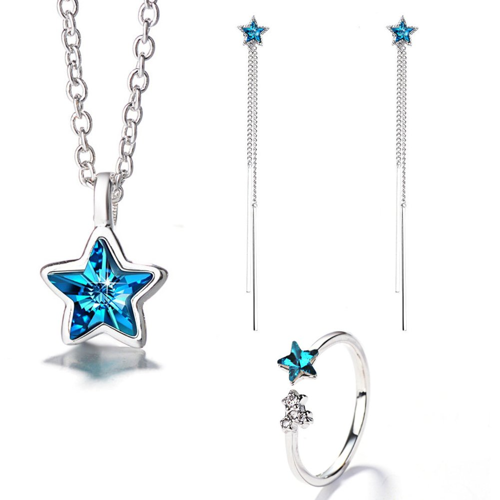 I'S ISAACSONG 925 Sterling Silver Inspirational Blue Cubic Zirconia Crystal Evil Eye Charm Pendant Necklace, Ring, Bracelet and Earring Jewelry Set for Girl Women (Blue Galaxy Star Set)