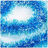 SUPPION Christmas Tree Tinsel Hanging Garland, Xmas Party Ornaments Decorations 2m (blue)