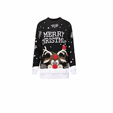 abc211aa21485 Comfiestyle New Women s Ladies Merry Christmas Pom Pom Novelty Jumper  Vintage Sweater Tops. UK 8