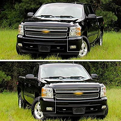 New Set of 2 Left & Right Front Primed Plastic Bumper Extension With Fog Light Hole For Chevrolet Silverado 1500 2007-2013 Replaces GM1005147, GM1004147: Automotive