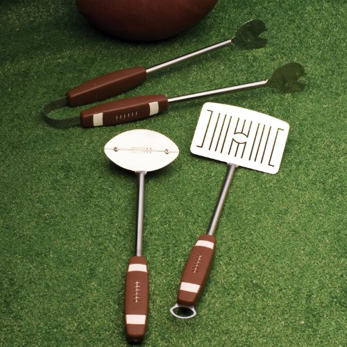 Charcoal Companion CC1043 Football 3-Piece Barbeque Tool Set