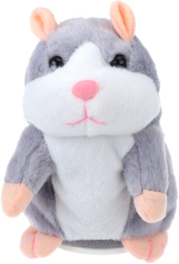 TOYMYTOY Juguete hámster de hablando Repite lo Que Dices Hamster Interactivo Peluche Habla juguete para regalo de niños, pilas no incluidas (Gris claro)