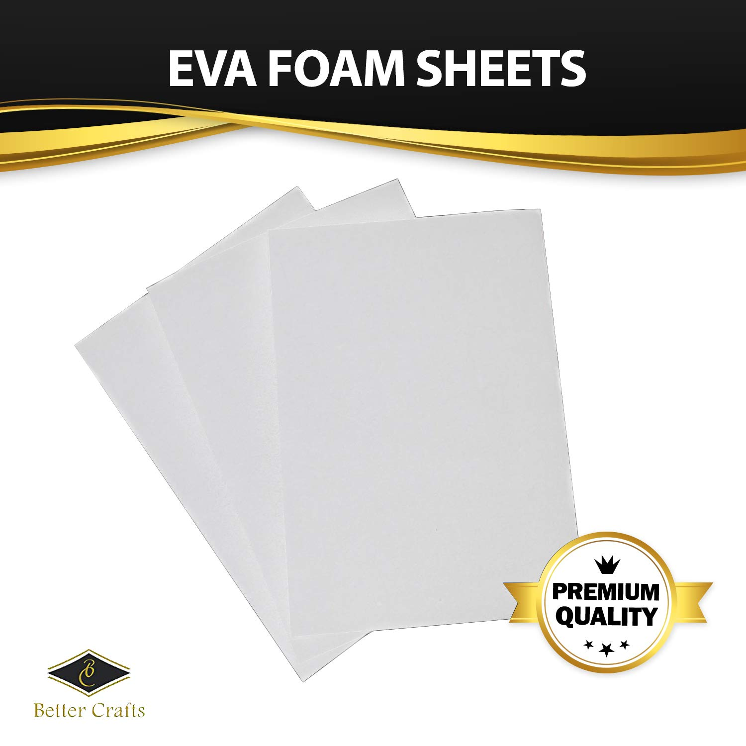 Eva Foam Sheets in White, 9x12 Inches, 6mm- Extra Thick! Great Craft Foam Paper (40)