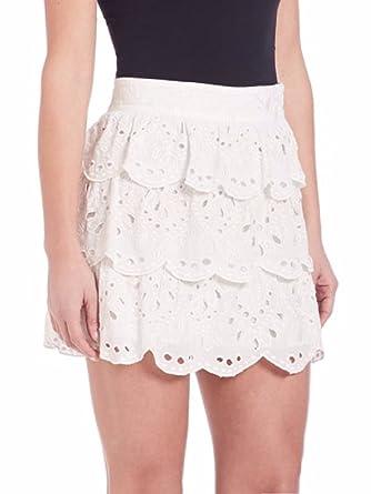 efb9d1e14c1c MICHAEL Michael Kors Womens' Scalloped Eyelet Embroidered Cotton Skirt,  White (8) at Amazon Women's Clothing store: