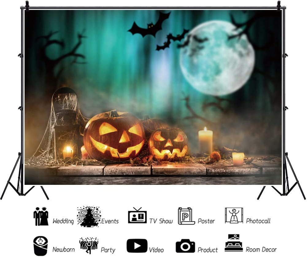 Yeele 8x6ft Halloween Backdrop Halloween Pumpkins on Old Wooden Table Photography Background Halloween Eve Holiday Pictures Kid Adult Acting Show Holiday Portrait Photoshoot Studio Props