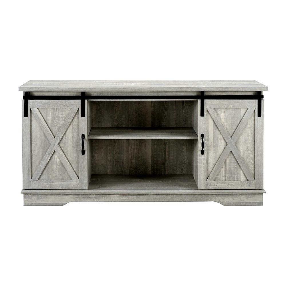 Skrootz TV Stand Farmhouse Style 58'' Modern Sliding Barn Door Stone Grey Color and Sturdy Construction