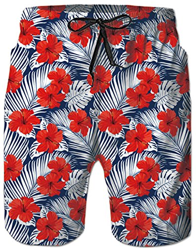 1908952396 RAISEVERN Mens Small Red Flower 3D Print Summer Boardshorts Mesh Lining  Quick Dry Beach Shorts Side