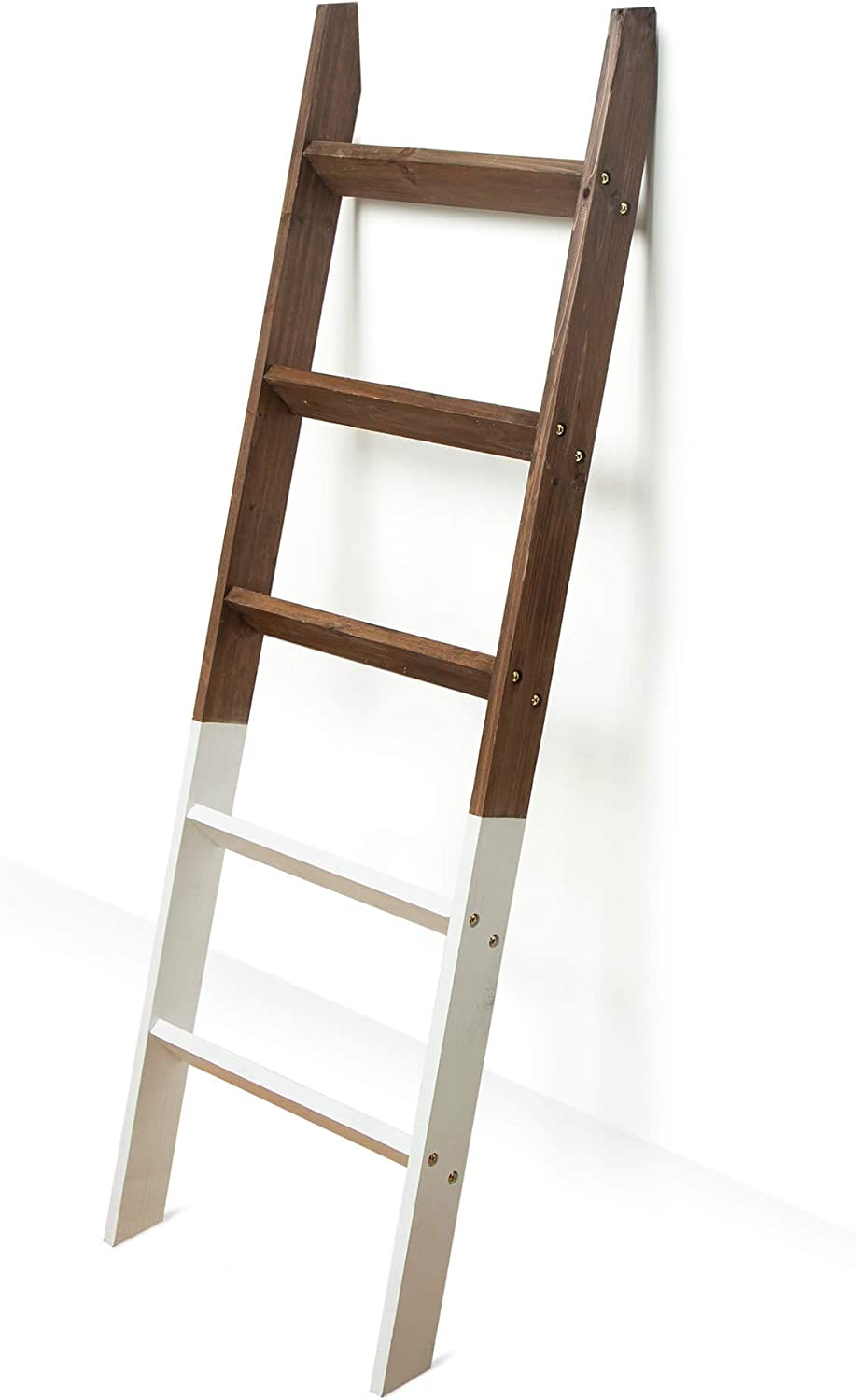 Blanket Ladder 5 ft. Wood Rustic Decorative Quilt Ladder. White Dipped Brown Two Toned Vintage Wooden Decor. Throw Blankets Holder Rack