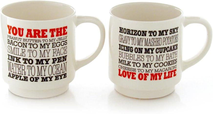 Enesco 4056350 I I Love You I Know Stacking Stoneware Mug Set 12 oz Red