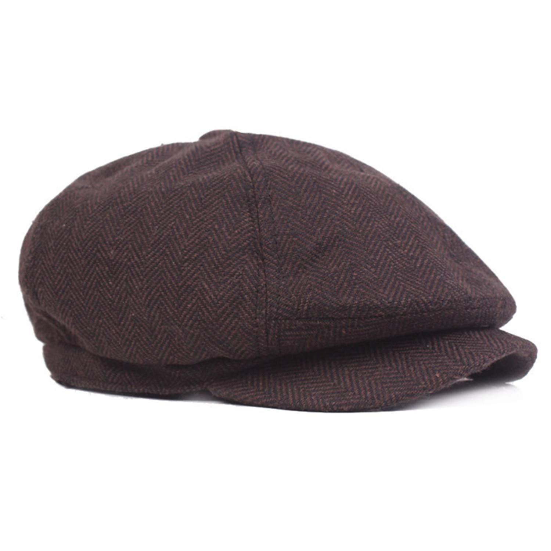 Zesoma Unisex Wintersboy Caps Men and Women Warm Tweed Octagonal Hat for Male Detective Hats Retro Flat Caps