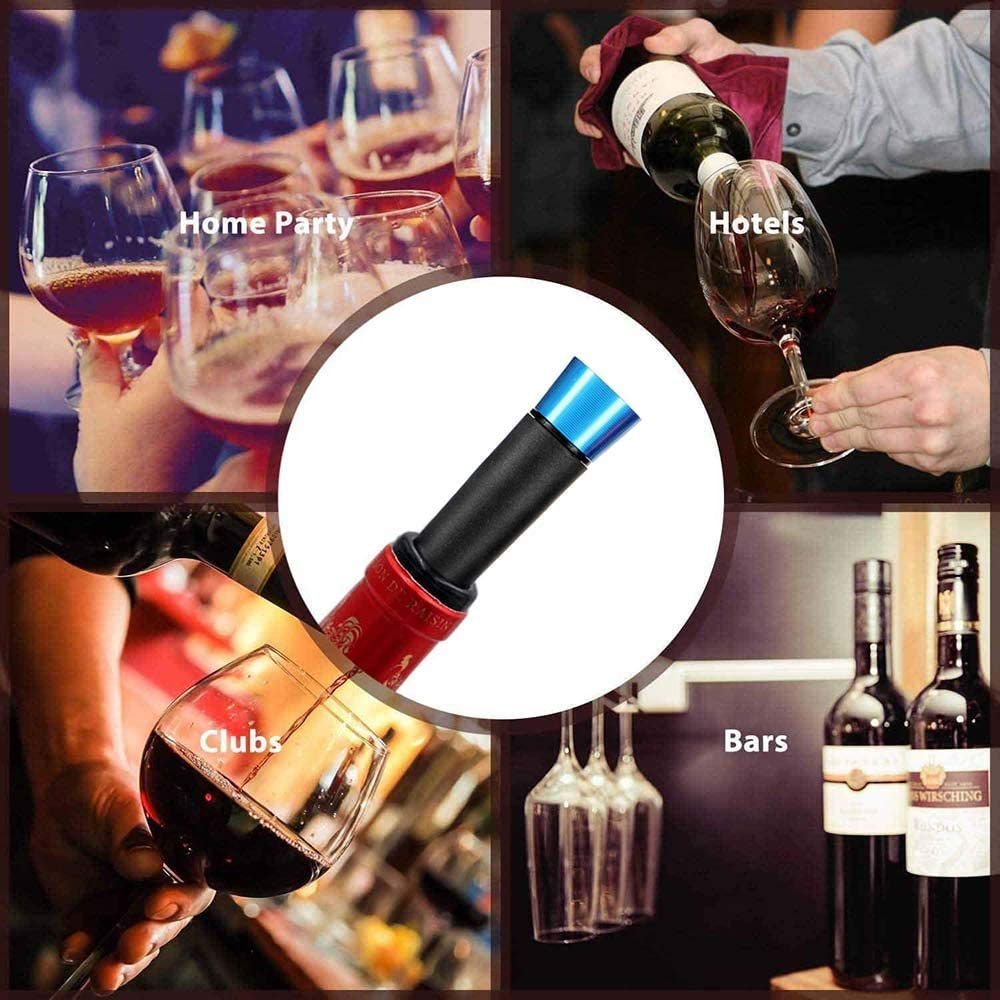 Food-safe Silicone Caps Wine Preserver Vacuum Pump Reusable Air Remover Corks Wine Pump Vacuum Stoppers With Built Chohey Wine Stoppers  2 PACK Leak-free Wine Bottle Sealer
