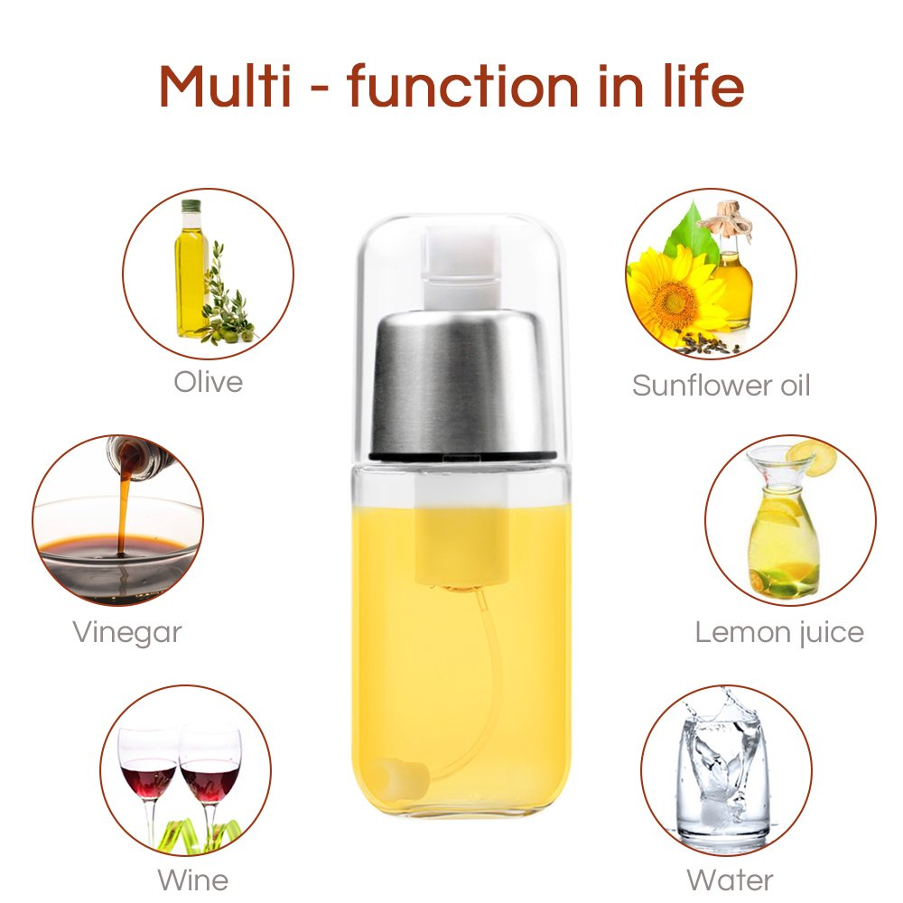 Compra RenFox Dispensador de pulverizador de Aceite Premium 304 Acero Inoxidable para Asar a la Parrilla Botella de Vidrio de Aceite de Oliva 200 ML para ...