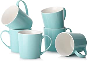 DOWAN Coffee Mugs - 18 Ounce Large Coffee Mugs with Handle, Ceramic Mugs Set of 6 for Cappuccino, Latte, Cocoa, Turquoise