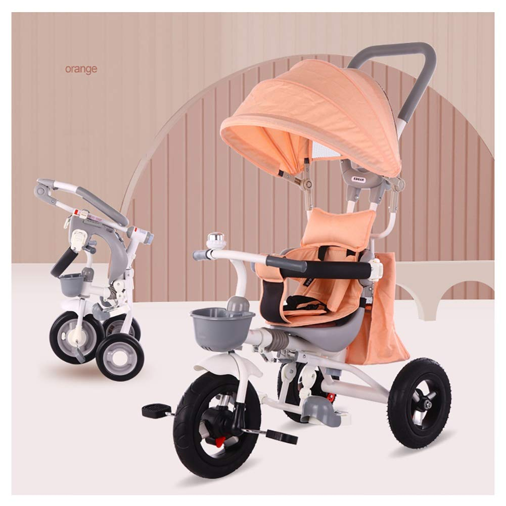 Classic Trike for Child Pink Toddler Tricycle with Rear Deck cycmoto Tricycle with Push Handle for 2 3 4 5 Years Girls