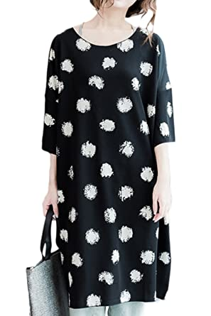 24fddf2782 Zilcremo Women Casual Half Sleeve Polka Dot Oversize Midi Loose Shift Party Dress  Black One Size  Amazon.co.uk  Clothing