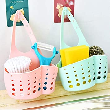 Vmoni Set of 2 Kitchen Bathroom Sponge Soap Water Draining Hanging Holder Organizer for Faucet Sink, Caddy Organizer for Kitchen Accessories (Multi Color)