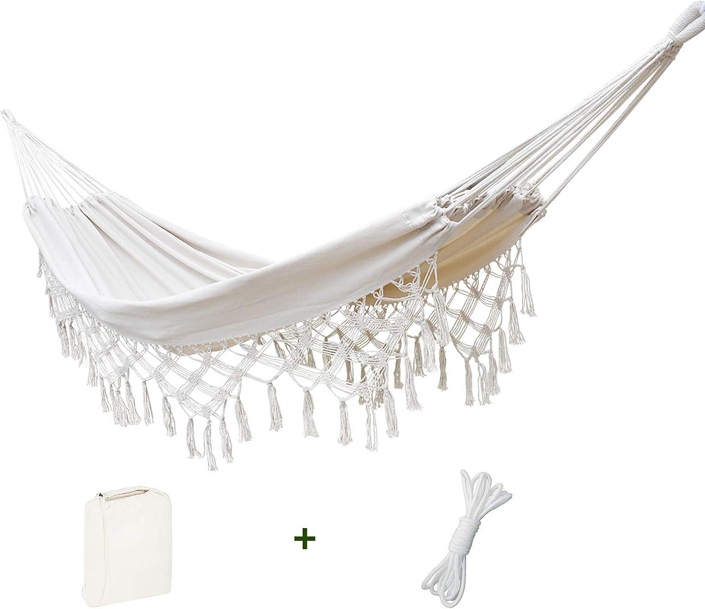ZLX White Macrame Boho Hammock - Cotton Patio Hammocks with Tree Straps