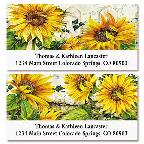 Sunflowers Return Address Labels- Set of 144, Square Self-Adhesive, Flat-Sheet Labels, by Colorful Images