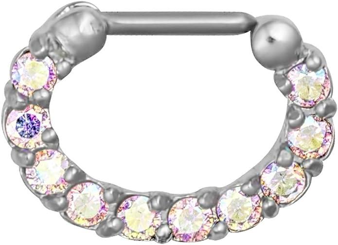 16g Multi Gem Aurora Borealis Pave Cz Crystal Septum Jewelry