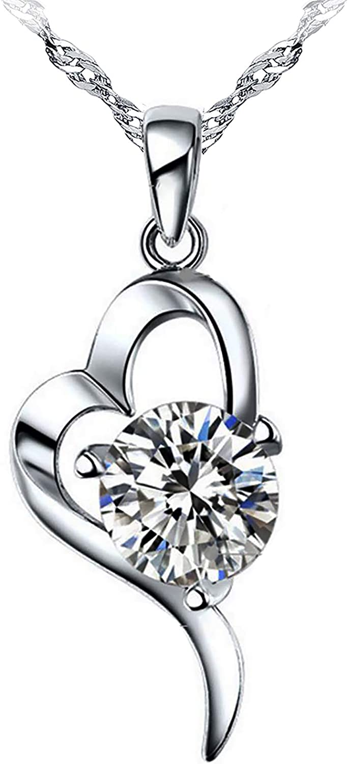 Womens Fashion Jewelry Pendant Necklace Cubic Zircon Silver Epinki 18k White Gold Plated Necklace
