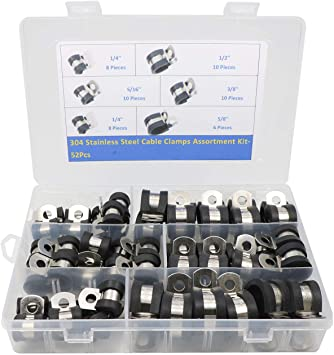 Cable Clamp 46 Pieces Stainless Steel Rubber Cushion Pipe Clamps Assortment ...
