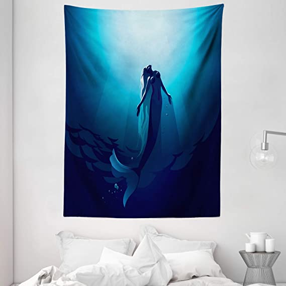 Ambesonne Underwater Tapestry Fantasy Mermaid In The Deep Water Swimming Up To The Surface Sun Rays Artwork Print Wall Hanging For Bedroom Living Room Dorm Decor 60 X 80 Dark Blue Home Kitchen Amazon Com