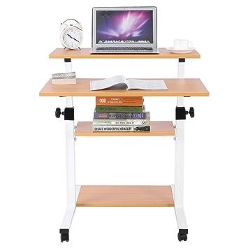 Carrito de ordenador portátil de altura ajustable con almacenamiento, altura ajustable, carrito de presentación, para monitores, ordenador portátil, ...