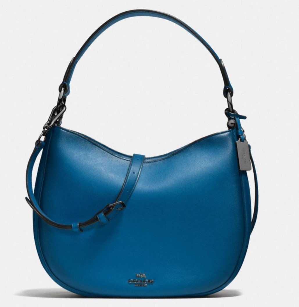 COACH nomad crossbody in burnished glovetanned leather In DK/Denim Style 54868 by Coach