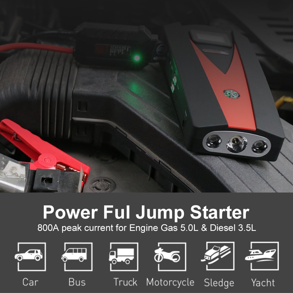 Car Jump Starter, 12V 800A Peak(Up to 5.0L Gas or 4.0L Diesel Engine) Portable Auto Battery Booster,Dual USB Power Bank Phone Battery Pack Built-in LED Light & Compass by PUSHIDUN (Image #2)