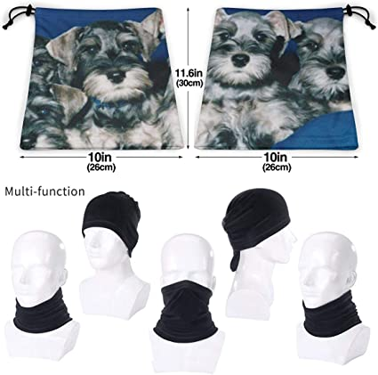 Night-Shop Polygon Dog Collection Miniature Schnauzer Wildlife Animal Holidays Custom 3D Seamless Neck Warmer Half Face Bandanas Scarf Balaclava for Men Women Youth Kids